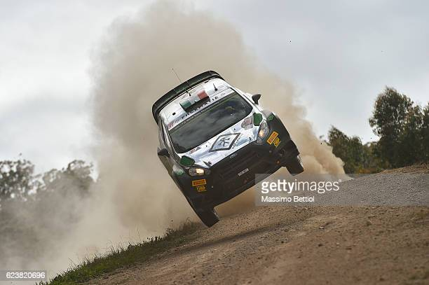 Lorenzo Bertelli of Italy and Simone Scattolin of Italy compete in their FWRT Ford Fiesta RS WRC during the Shakedown of the WRC Australia on...