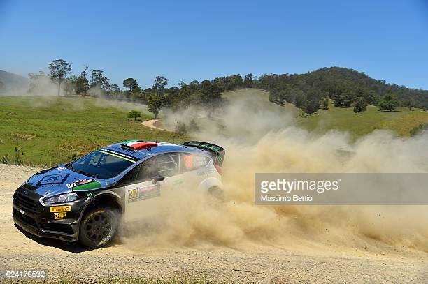Lorenzo Bertelli of Italy and Simone Scattolin of Italy compete in their FWRT Ford Fiesta RS WRC during Day One of the WRC Australia on November 18,...