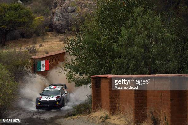 Lorenzo Bertelli of Italy and Simone Scattolin of Italy compete in their FWRT Ford Fiesta WRC during the Shakedown of the WRC Mexico on March 8, 2017...