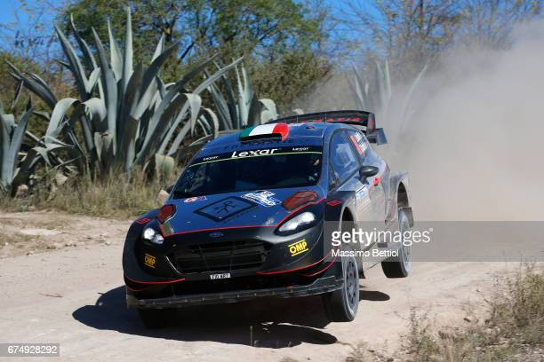 Lorenzo Bertelli of Italy and Simone Scattolin of Italy compete in their FWRT Ford Fiesta WRC during Day Two of the WRC Argentina on April 29, 2017...