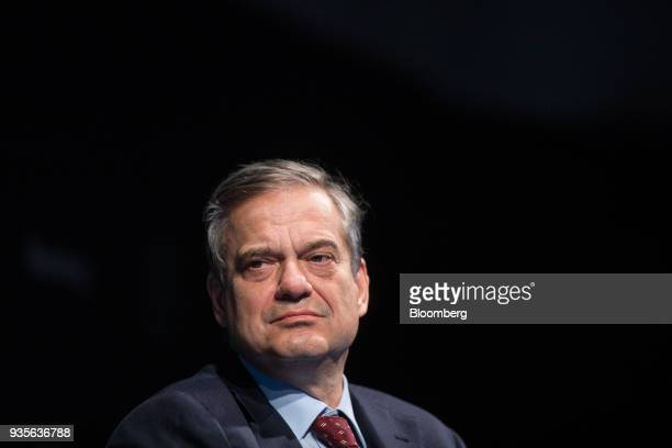 Lorenzo Bini Smaghi chairman of Societe Generale SA pauses while taking part in a panel discussion during the European Capital Markets at Bloomberg's...