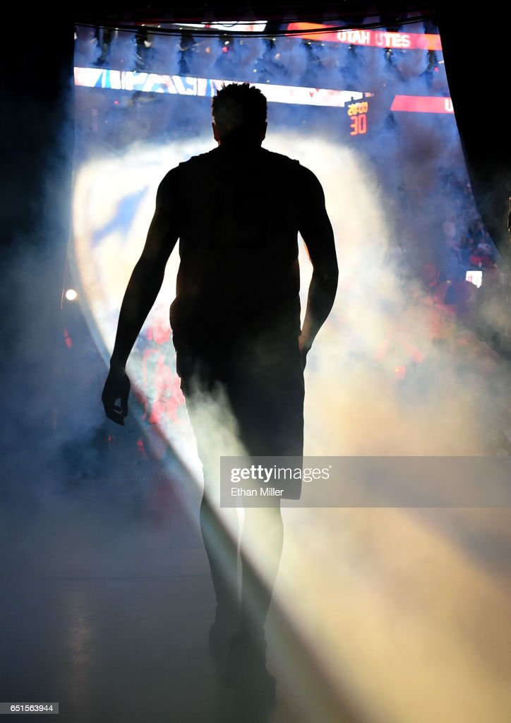 Lorenzo Bonam #15 of the Utah Utes is introduced before a quarterfinal game of the Pac-12 Basketball Tournament against the California Golden Bears at T-Mobile Arena on March 9, 2017 in Las Vegas, Nevada.