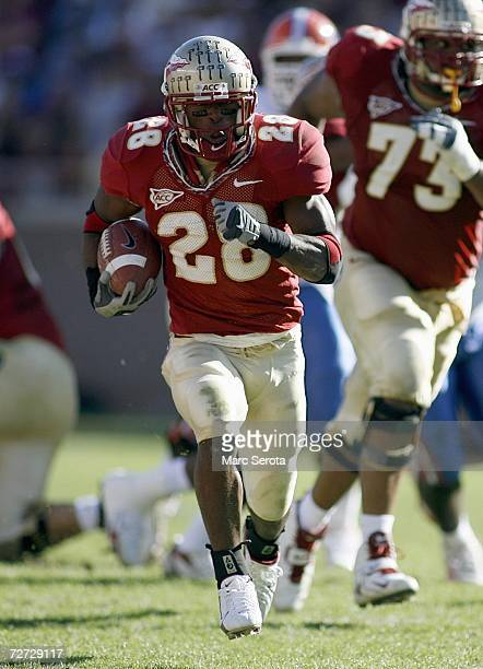 Lorenzo Booker of the Florida State Seminoles carries the ball during the game against the Florida Gators on November 25 2006 at Doak Campbell...