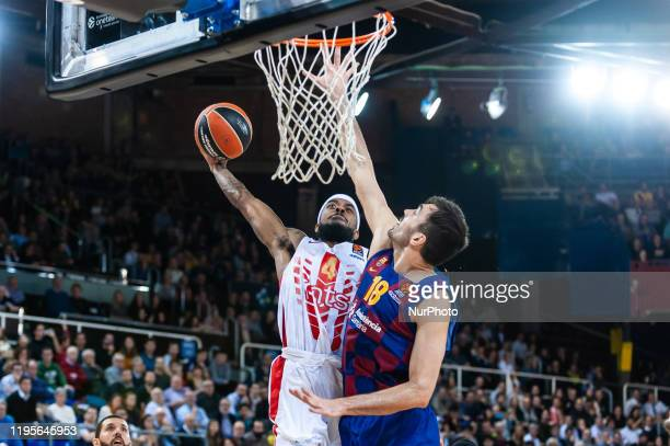 Lorenzo Brown and Pierre Oriola during the match between FC Barcelona and Red Star Basketball Club, corresponding to the week 21 of the Euroleague,...