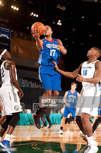 Lorenzo Brown of the Delaware 87ers shoots against the Reno Bighorns during the 2014 NBA DLeague Showcase presented by Samsung Galaxy on January 5...