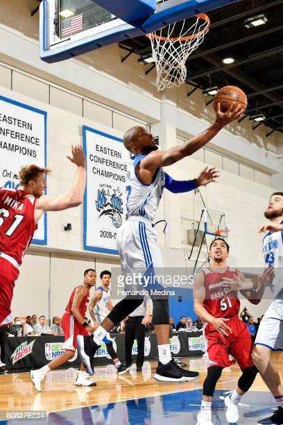 Lorenzo Brown of the Detroit Pistons goes for a lay up during the game against the Miami Heat during the 2017 Orlando Summer League on July 4 2017 at...