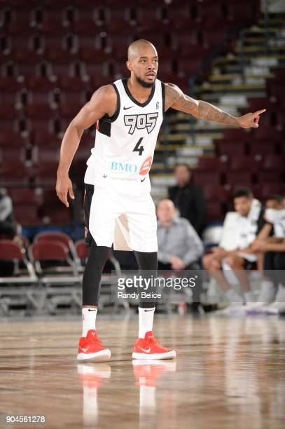 Lorenzo Brown of the Raptors 905 waits for the ball during the NBA GLeague Showcase Game 22 between the Sioux Falls Skyforce and the Raptors 905 on...