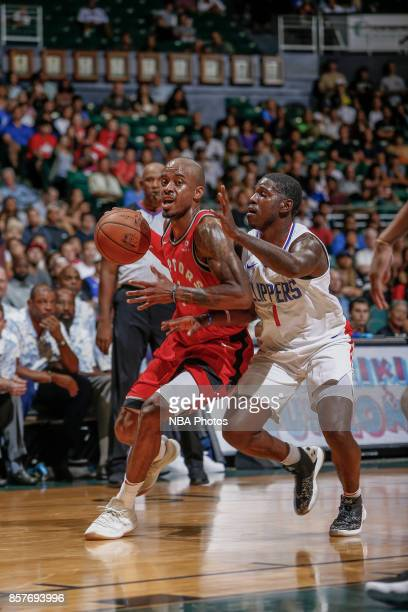 Lorenzo Brown of the Toronto Raptors handles the ball during the preseason game against the LA Clippers on October 4. 2017 at the Stan Sheriff Center...
