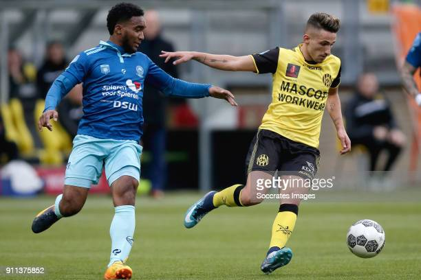 Lorenzo Burnet of Excelsior Jorn Vancamp of Roda JC during the Dutch Eredivisie match between Roda JC v Excelsior at the Parkstad Limburg Stadium on...