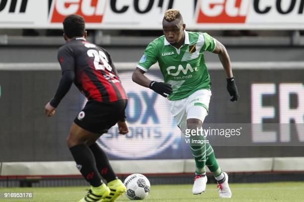 Lorenzo Burnet of sbv Excelsior Thierry Ambrose of NAC Breda during the Dutch Eredivisie match between sbv Excelsior Rotterdam and NAC Breda at Van...