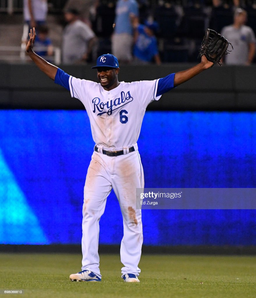 Lorenzo Cain #6 of the Kansas City Royals celebrates a 4-2 win over the Boston Red Sox at Kauffman Stadium on June 19, 2017 in Kansas City, Missouri.