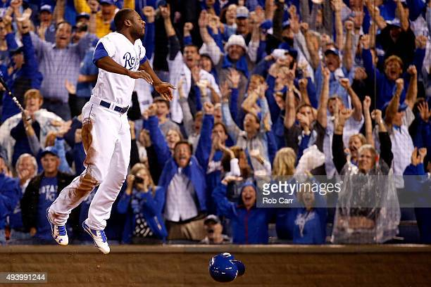 Lorenzo Cain of the Kansas City Royals celebrates after scoring in the eigthth inning against the Toronto Blue Jays in game six of the 2015 MLB...