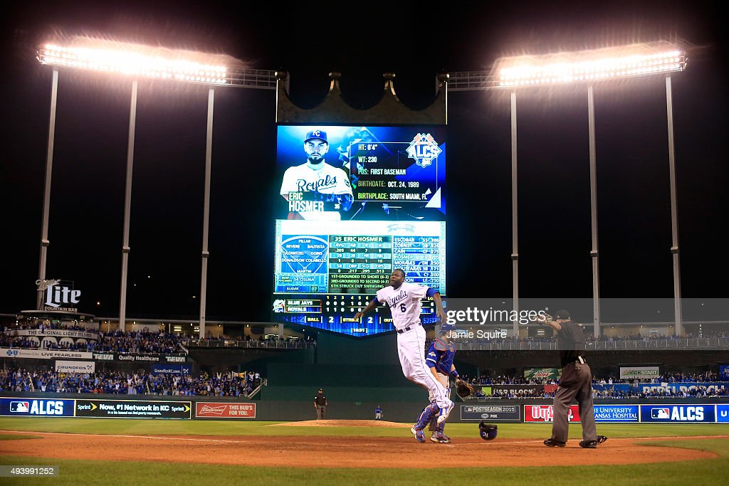 Lorenzo Cain #6 of the Kansas City Royals celebrates after scoring in the eigthth inning against the Toronto Blue Jays in game six of the 2015 MLB American League Championship Series at Kauffman Stadium on October 23, 2015 in Kansas City, Missouri.