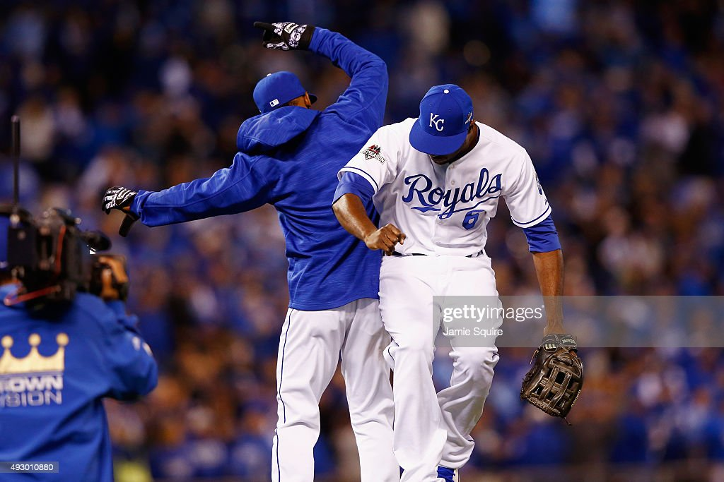 Lorenzo Cain #6 of the Kansas City Royals celebrates with Jarrod Dyson #1 of the Kansas City Royals after defeating the Toronto Blue Jays 5-0 in game one of the American League Championship Series at Kauffman Stadium on October 16, 2015 in Kansas City, Missouri.