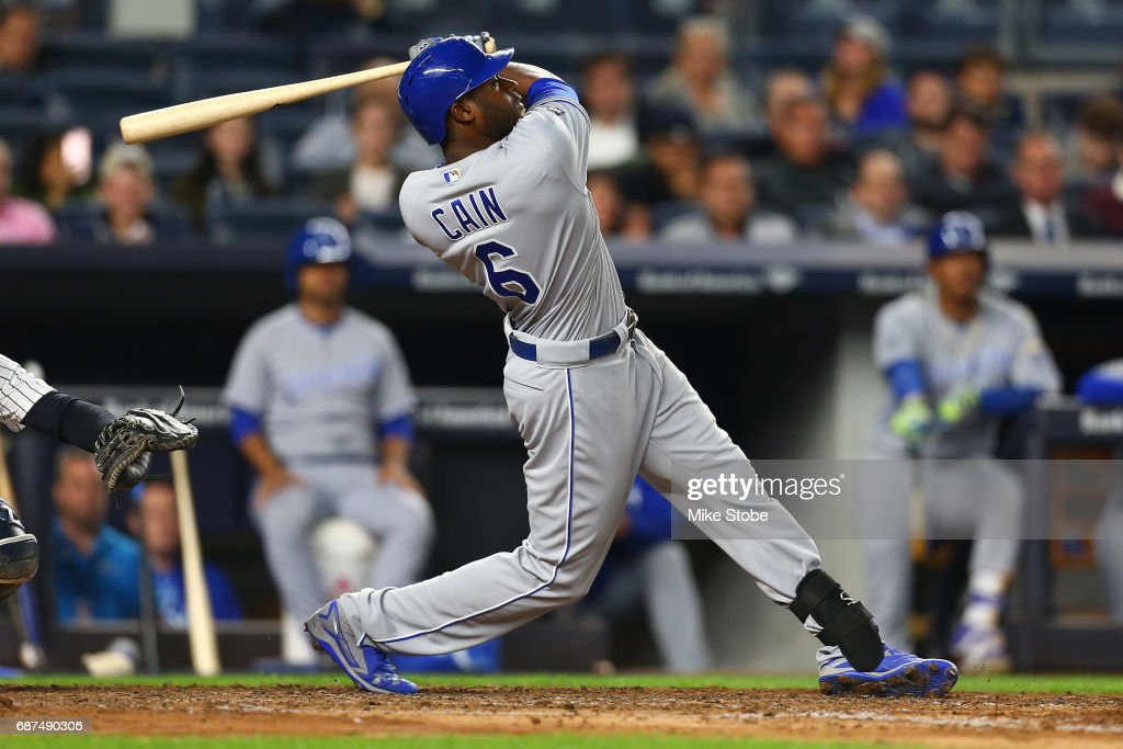 Lorenzo Cain #6 of the Kansas City Royals connects on a game tying solo home run in the seventh inning against the New York Yankees at Yankee Stadium on May 23, 2017 in the Bronx borough of New York City.
