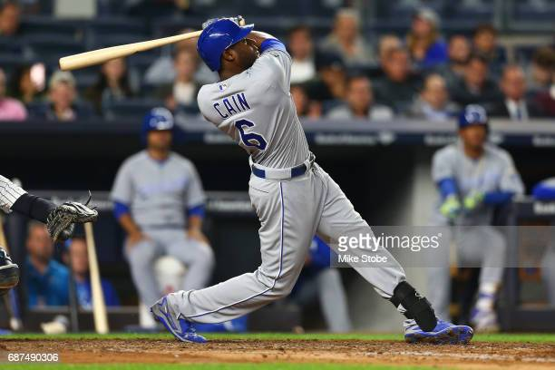 Lorenzo Cain of the Kansas City Royals connects on a game tying solo home run in the seventh inning against the New York Yankees at Yankee Stadium on...