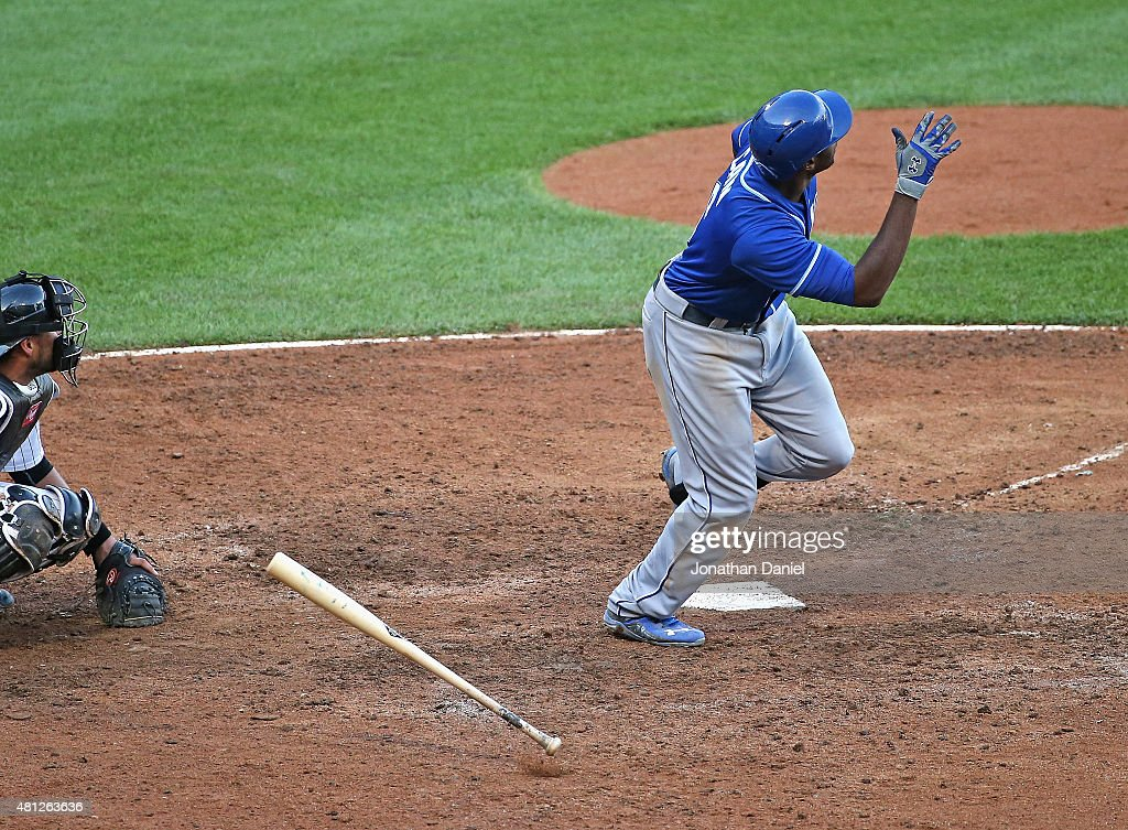Lorenzo Cain #6 of the Kansas City Royals follows the flight of his game-winning, solo home run in the 13th inning against the Chicago White Sox at U.S. Cellular Field on July 18, 2015 in Chicago, Illinois. The Royals defeated the White Sox 7-6 in 13 innings.