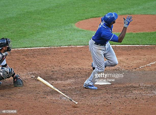 Lorenzo Cain of the Kansas City Royals follows the flight of his gamewinning solo home run in the 13th inning against the Chicago White Sox at US...