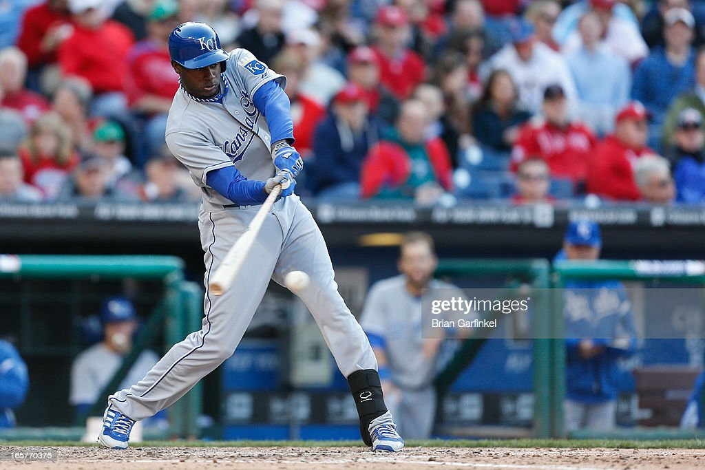 Lorenzo Cain #6 of the Kansas City Royals gets a base hit in the sixth inning of the Opening Day game against the Philadelphia Phillies at Citizens Bank Park on April 5, 2013 in Philadelphia, Pennsylvania. The Royals won 13 to 4.