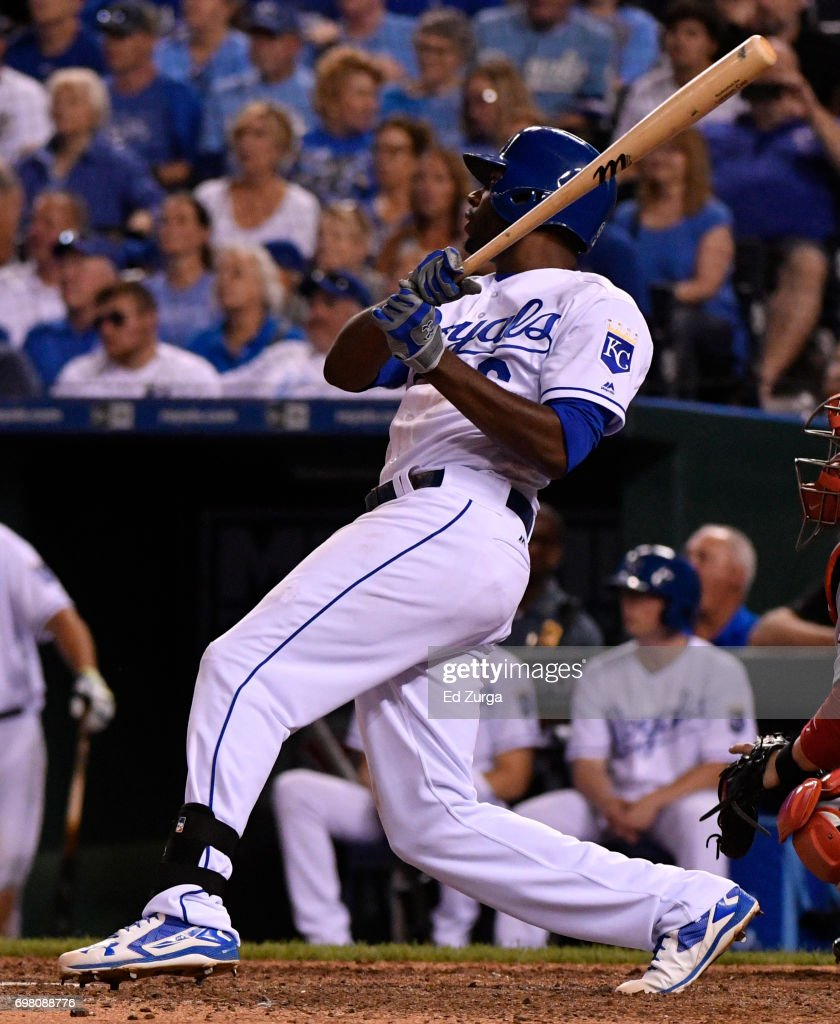 Lorenzo Cain #6 of the Kansas City Royals hits a RBI single in the seventh inning against the Boston Red Sox at Kauffman Stadium on June 19, 2017 in Kansas City, Missouri.
