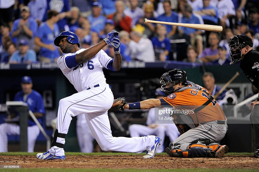 Lorenzo Cain #6 of the Kansas City Royals loses his bat in the sixth inning against the Houston Astros during game one of the American League Division Series at Kauffman Stadium on October 8, 2015 in Kansas City, Missouri.