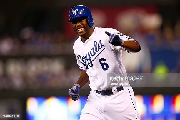 Lorenzo Cain of the Kansas City Royals reacts after reaching first base on an infield single in the third inning against the Toronto Blue Jays in...