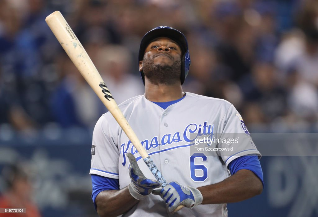 Lorenzo Cain #6 of the Kansas City Royals reacts to a called strike in the sixth inning during MLB game action against the Toronto Blue Jays at Rogers Centre on September 19, 2017 in Toronto, Canada.