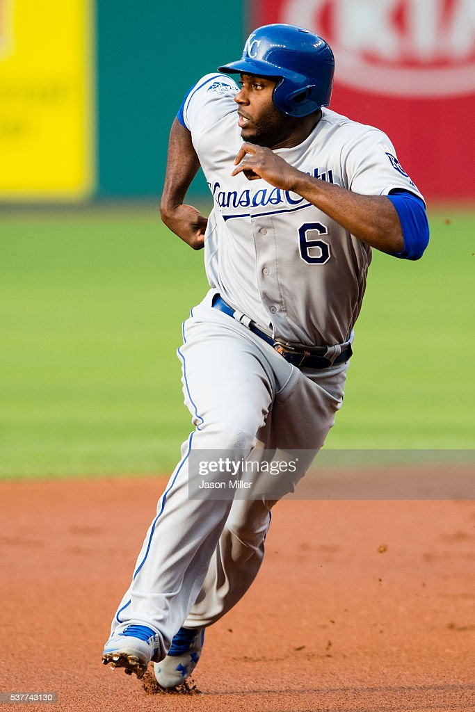 Lorenzo Cain #6 of the Kansas City Royals rounds second on a single by Eric Hosmer #35 during the first inning against the Cleveland Indians at Progressive Field on June 2, 2016 in Cleveland, Ohio.