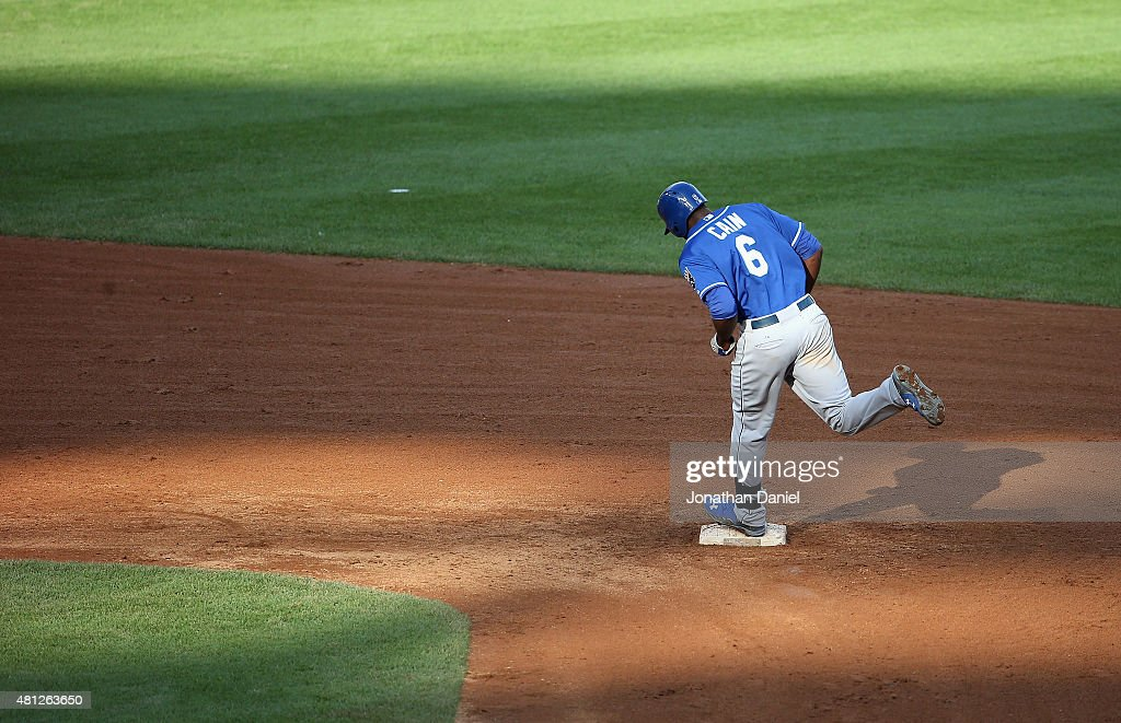 Lorenzo Cain #6 of the Kansas City Royals runs the bases after his game-winning, solo home run in the 13th inning against the Chicago White Sox at U.S. Cellular Field on July 18, 2015 in Chicago, Illinois. The Royals defeated the White Sox 7-6 in 13 innings.