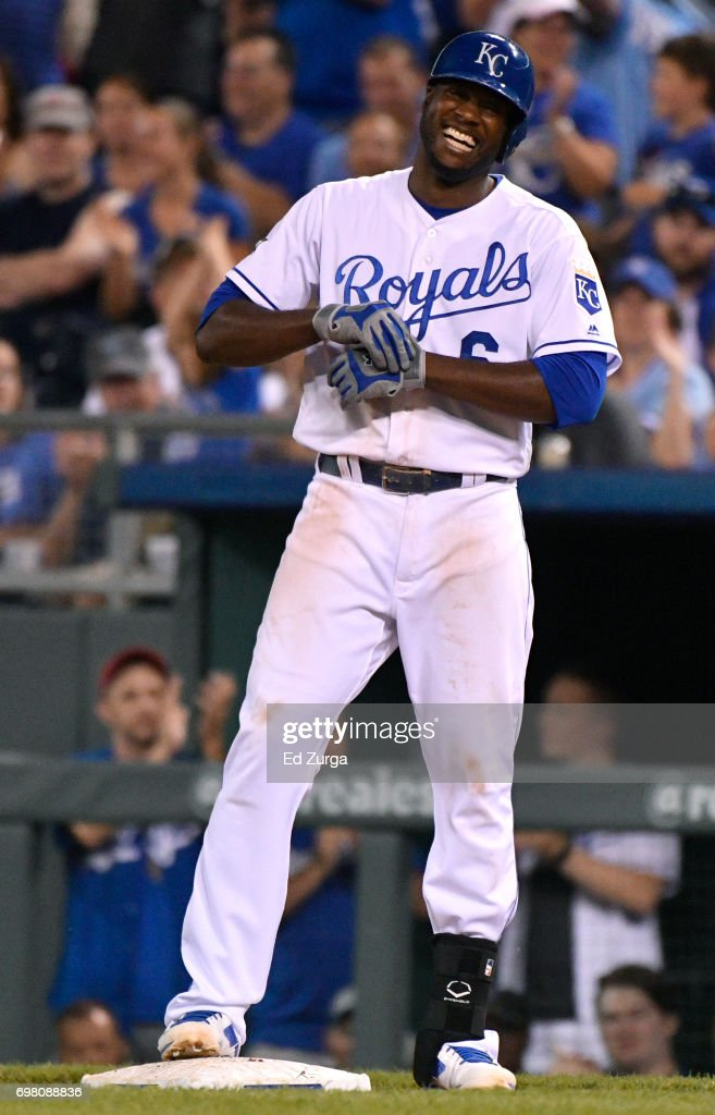 Lorenzo Cain #6 of the Kansas City Royals smiles as he celebrates a RBI single in the seventh inning against the Boston Red Sox at Kauffman Stadium on June 19, 2017 in Kansas City, Missouri.