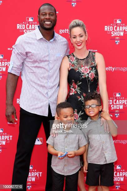 Lorenzo Cain of the Milwaukee Brewers and the National League and guests attend the 89th MLB AllStar Game presented by MasterCard red carpet at...
