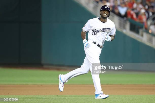 Lorenzo Cain of the Milwaukee Brewers and the National League during the 89th MLB AllStar Game presented by Mastercard at Nationals Park on July 17...