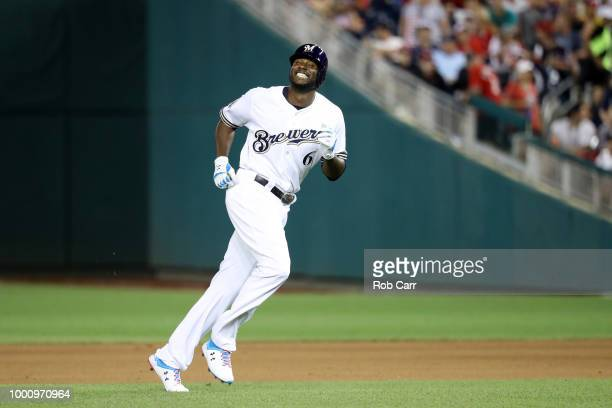 Lorenzo Cain of the Milwaukee Brewers and the National League reacts after flying out in the seventh inning against the American League during the...