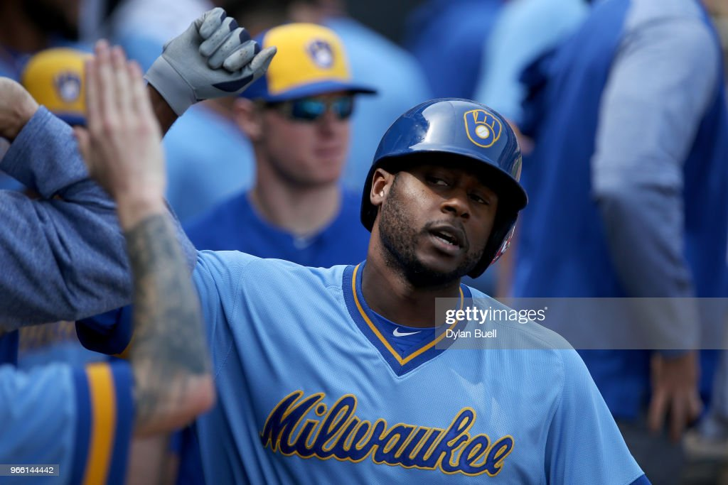 Lorenzo Cain #6 of the Milwaukee Brewers celebrates with teammates after hitting a home run in the eighth inning against the Chicago White Sox at Guaranteed Rate Field on June 2, 2018 in Chicago, Illinois.