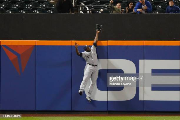 Lorenzo Cain of the Milwaukee Brewers makes a catch in the second inning for a third out against the New York Mets at Citi Field on April 26 2019 in...