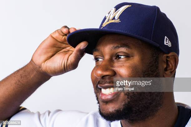 Lorenzo Cain of the Milwaukee Brewers poses for a portrait during Photo Day at the Milwaukee Brewers Spring Training Complex on February 22 2018 in...