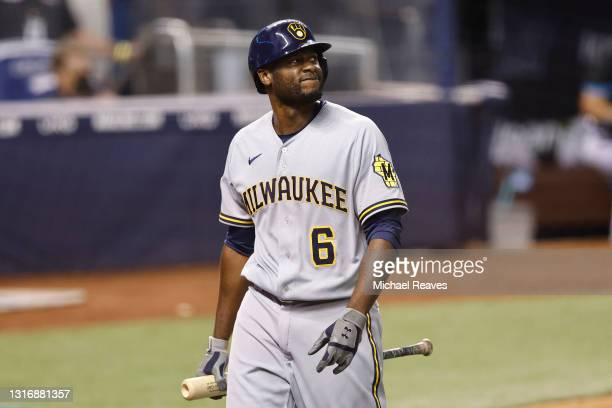 Lorenzo Cain of the Milwaukee Brewers reacts after striking out against the Miami Marlins during the third inning at loanDepot park on May 07, 2021...