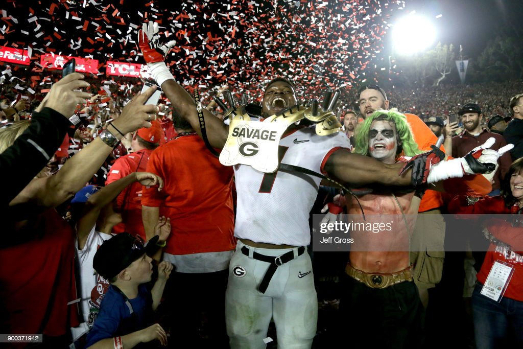 Lorenzo Carter #7 of the Georgia Bulldogs celebrates after the Georgia Bulldogs beat the Oklahoma Sooners 54-48 in the 2018 College Football Playoff Semifinal Game at the Rose Bowl Game presented by Northwestern Mutual at the Rose Bowl on January 1, 2018 in Pasadena, California.