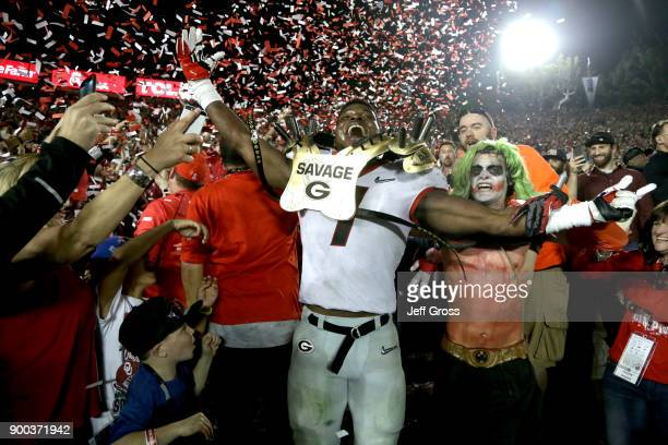 Lorenzo Carter of the Georgia Bulldogs celebrates after the Georgia Bulldogs beat the Oklahoma Sooners 5448 in the 2018 College Football Playoff...