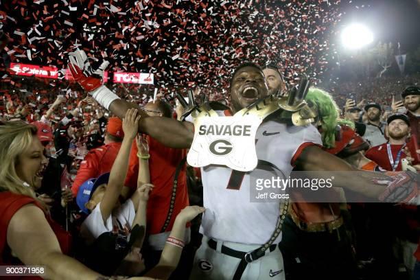 Lorenzo Carter of the Georgia Bulldogs celebrates after the Georgia Bulldogs beat the Oklahoma Sooners 5448 in the 2018 College Football Playoff...