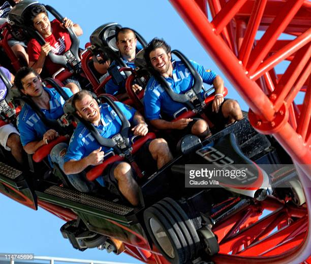Lorenzo Cittadini Alessandro Zanni and Luke McLean during the Italy rugby team visit to Mirabilandia amusement park on May 26 2011 in Ravenna Italy