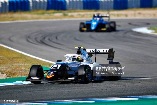 Lorenzo Colombo of Italy and Campos Racing drives during day two of Formula 3 Testing at Circuito de Jerez on May 13, 2021 in Jerez de la Frontera,...