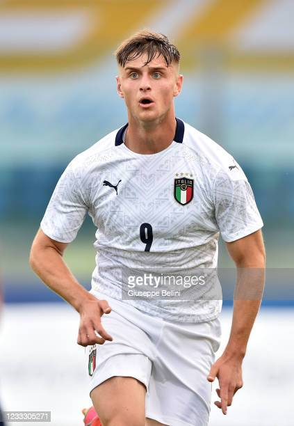 Lorenzo Colombo of Italy U20 looks on during of Italy U20 gestures during the Friendly Match between San Marino U20 and Italy U20 at San Marino...