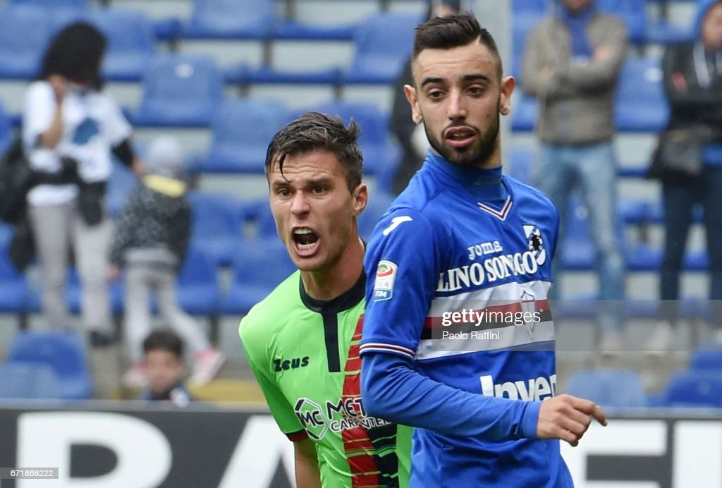 Lorenzo Crisetig (Crotone) and Bruno Fernandes (Sampdoria) during the Serie A match between UC Sampdoria and FC Crotone at Stadio Luigi Ferraris on April 23, 2017 in Genoa, Italy.