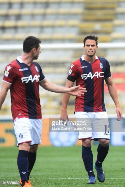 Lorenzo Crisetig of Bologna FC looks on during the serie A match between Bologna FC and Hellas Verona FC at Stadio Renato Dall'Ara on April 15 2018...