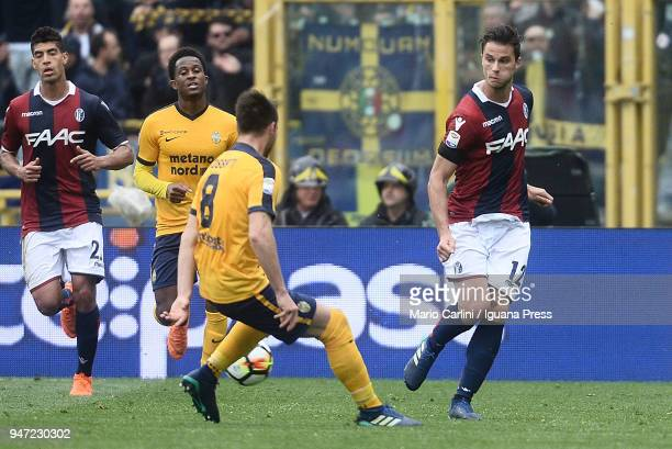 Lorenzo Cristetig of Bologna FC in action during the serie A match between Bologna FC and Hellas Verona FC at Stadio Renato Dall'Ara on April 15 2018...