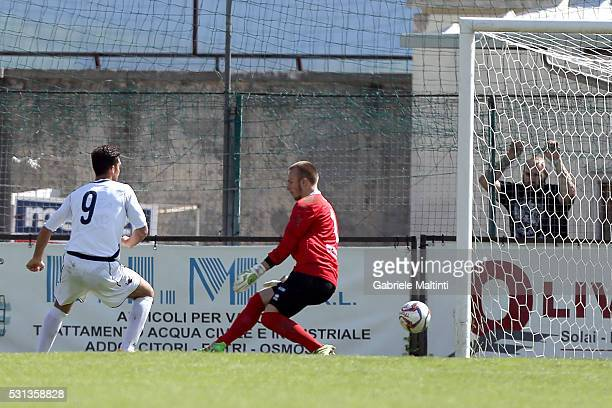 Lorenzo Crocetti of Gubbio scores a goal durnig the Serie D match between Gubbio and Parma Calcio 1913 on May 14, 2016 in Sansepolcro, Italy.