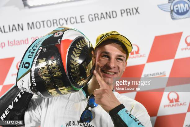 Lorenzo Dalla Porta of Italy and Leopard Racing celebrates the Moto3 victory and the 2019 Moto3 Championship during the press conference at the end...