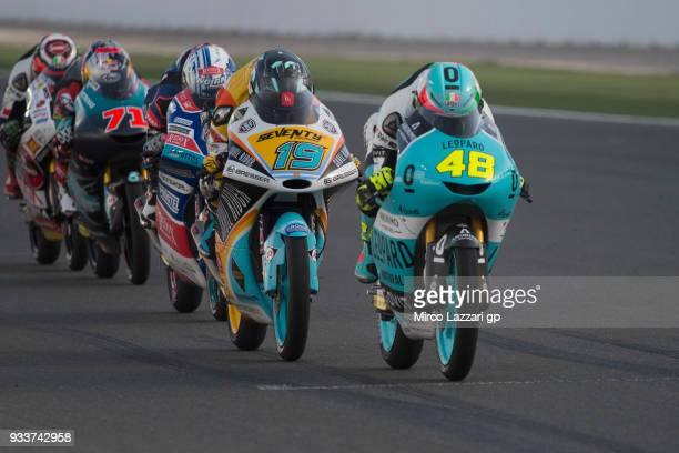 Lorenzo Dalla Porta of Italy and Leopard Racing leads the field during the Moto3 race during the MotoGP of Qatar Race at Losail Circuit on March 18...