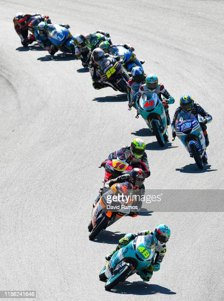 Lorenzo Dalla Porta of Italy and Leopard Racing leads the pack during the Moto3 race during the MotoGP Gran Premi Monster Energy de Catalunya at...